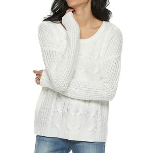 SO Cable Knit Scoop Neck Sweater White